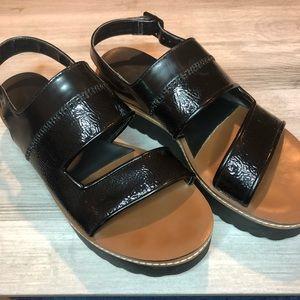 Zara Platform Wedge Sandal Black Size 10